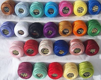 25 ANCHOR Pearl Cotton Balls. Size 8  (85 Meters each), 25 Different Colours