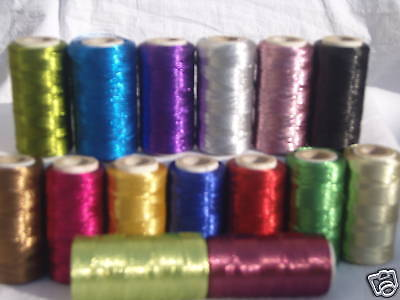 15 Metallic Thread Spools, 15 Different colours 400 YARDS EACH