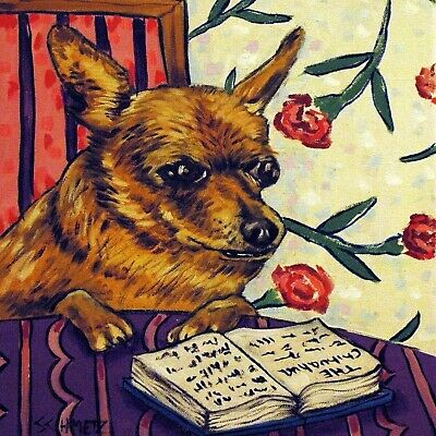 CHIHUAHUA reading a book dog art tile coaster gift