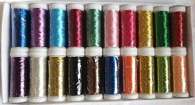 20 Metallic Thread Spools, 20 different colours 400 YARDS EACH