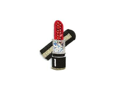 Lipstick - Red - Makeup - Cosmetics - Embroidered/Sequin Iron On Applique Patch