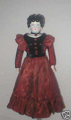 """Nice 19"""" antique Germany china head in antique outfit"""