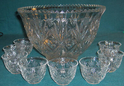 Vintage L.E. Smith APG Punch Bowl, 8 Cups,Bull's Eye &