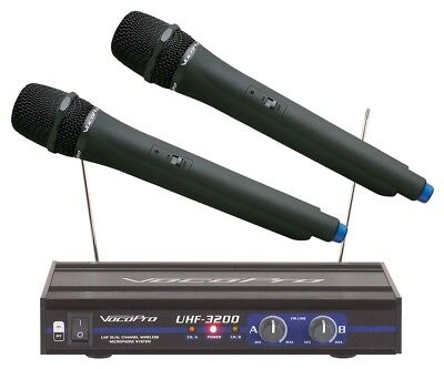 VocoPro UHF-3200 UHF Dual Channel Wireless Microphone 900 MHz