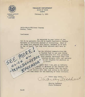 1933 STATE TREASURER letter CHARLEY LOCKHART Austin Texas CONFEDERATE PENSION