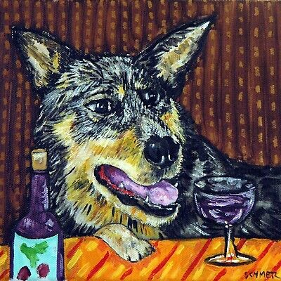 australian cattle dog at a wine bar art tile coaster artwork gift modern