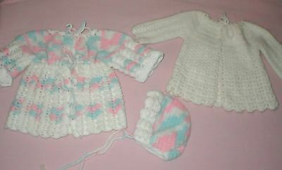 Vint hand knit/crochet white + pink/blue sweater & hat