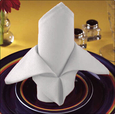 24 White Wedding Cotton Restaurant Dinner Cloth Linen Napkins Premium 20''