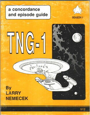 Star Trek TNG-1 Concordance and Episode Guide Trade Book 1989 Larry Nemecek