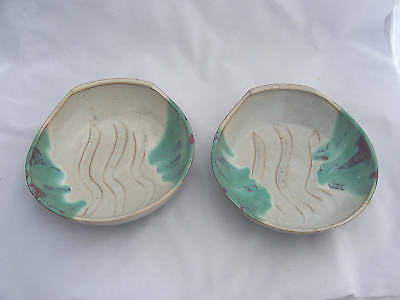Pottery Sm Candy Nut Rice Bowls 2 Gray Turquoise Japan