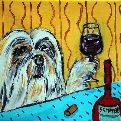 LHASA APSO AT THE WINE BAR dog art tile coaster gift