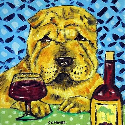 Shar Pei at the wine bar dog art tile coaster gift animals impressionism