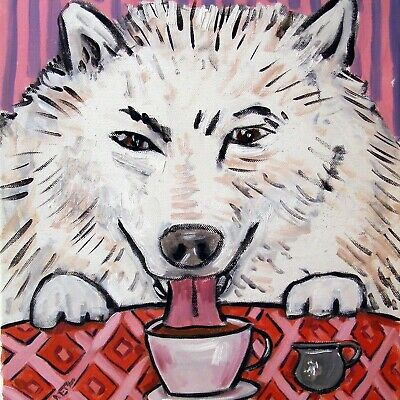 SAMOYED brushing teeth dog art tile coaster gift modern gifts