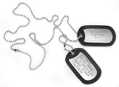 "MILITARY DOG TAGS Army DogTags 2 x CHAINS 26"" & 4.5"" PERSONALISED  FREE !"