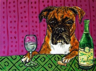 BOXER dog at the wine bar signed dog art print 8x10