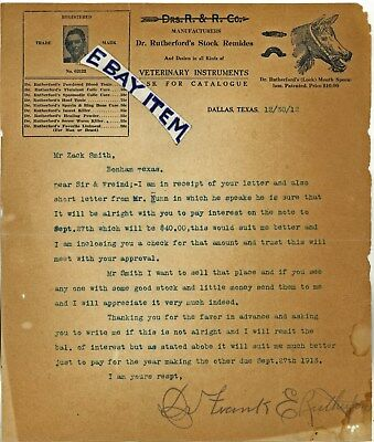 1912 Dr Frank Rutherford Veterinary Letter Dallas Texas