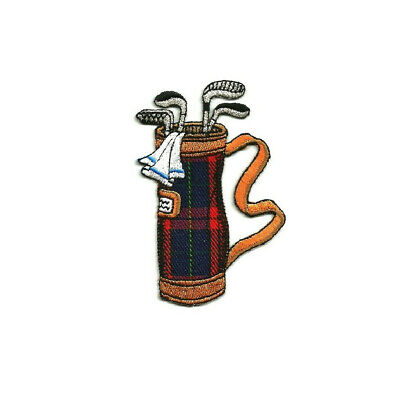 Golf - Golf Bag W/Clubs - Sports - Golfing - Plaid - Iron On Patch - Crafts