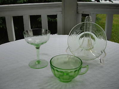 Green Depression Glass- Three Assorted Pieces
