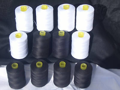 12 Large 6 White+ 6 Black 100%PURE COTTON Sewing Thread