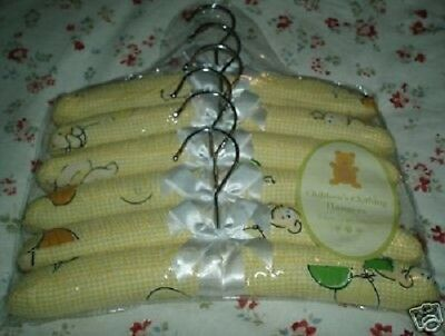 Set of 6 YELLOW Teddy Bear Cushioned Baby Hangers NEW gift Shower