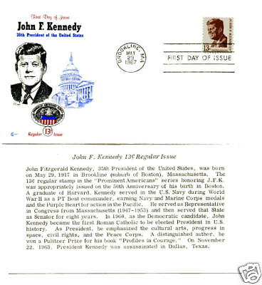 1287 John F. Kennedy Cover Craft Cachets, (CCC)  FDC