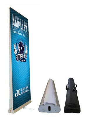 """Banner Stand - 33.5"""" Wide DOUBLE-SIDED Retractable"""