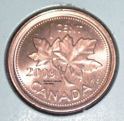Canada 2009 1 Cent Uncirculated From Roll  Non Magnetic BU Canadian Zinc Penny
