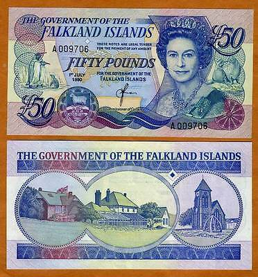 Falkland Islands 50 pounds 1990 QEII P-16, CV=$290, UNC