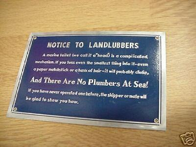 "Notice to Landlubbers plaque sign 4"" x 6""  NOS *funny*"