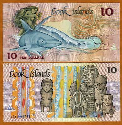 Cook Islands, $10, 1987, Naked Ina & a shark,  Pick 4, UNC