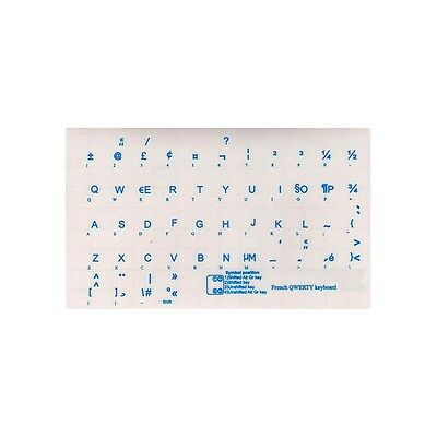 French QWERTY Trans. Keyboard Stickers Blue Letters NEW