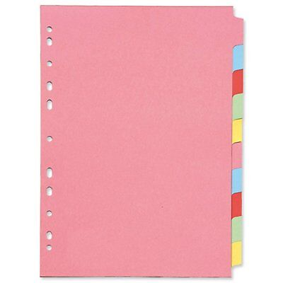 3x Packs A4 Coloured 10 Part Index Tab Subject Folder File Dividers KF26082