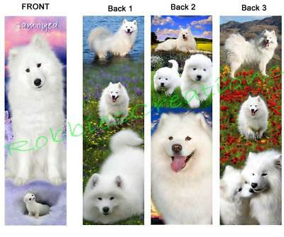 3 Fun-SAMOYED BOOKMARK ART Alaskan Snow White Sled Dogs puppy book Card figurine