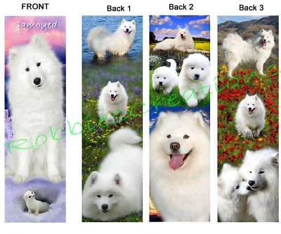 3 Lot-SAMOYED BOOKMARK ART Alaskan Snow White Sled Dogs puppy book Card figurine