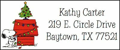 ~SNOOPY AND CHRISTMAS TREE~ Return Address Label