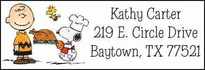~SNOOPY & CHARLIE BROWN THANKSGIVING~  Address Labels