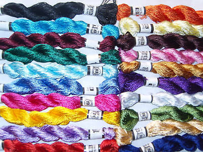 20 New 100%  SILK Hand Embroidery Thread Skein, 20 Different Colours