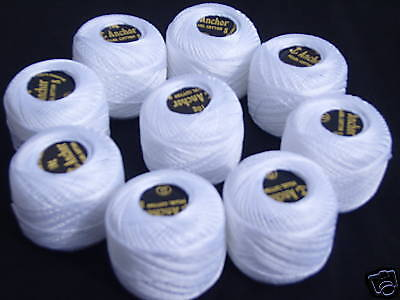 10 White ANCHOR Pearl Cotton Balls.Size 8,85 Mtrs each, 1 x Box of 10 Balls