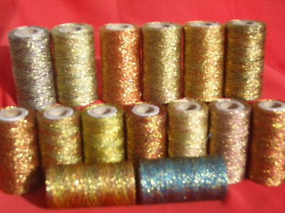 15 Metallic Multic Gold Twisted Spools  400 YARDS EACH, 15 Different colours