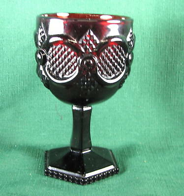 Avon Ruby Red Glass Cape Cod Collection Goblet Vintage