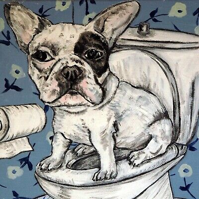 FRENCH BuLLDOG in the bathroom dog art tile coaster gift gifts coasters