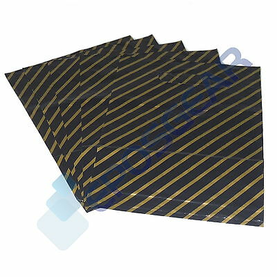 100 Small Black/Gold Gift Fashion Plastic Carrier Bags