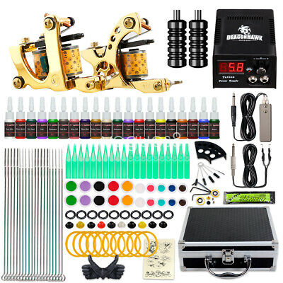 Tattoo Kit 2 Machine Gun Color ink Tip Power Supply Set 50 Needles Grips Tip