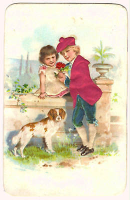 Trade Card French Chromo Children With Dog No Imprint
