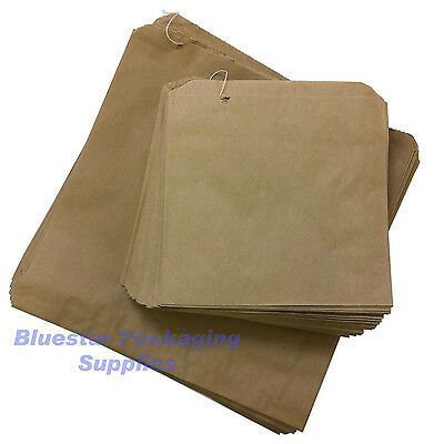 """100 x Kraft Brown Paper Food Bags Strung 8.5"""" x 8.5"""" for Sandwiches Groceries"""