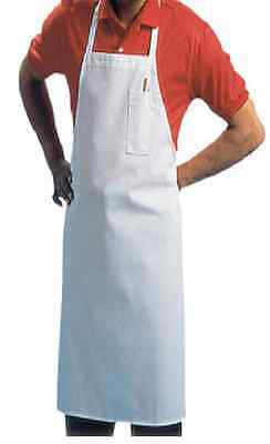 1 New White Chefs Commercial Grade Bib Apron P/c Blend