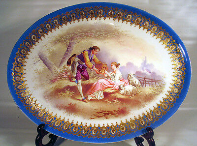 Large Sevres Style Platter Hand Painted Artist Signed