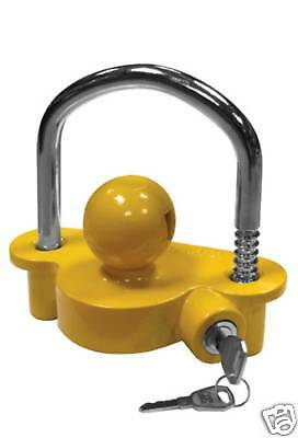 Hitch coupling LOCK security caravan trailer 50mm yellow ball tow horse box