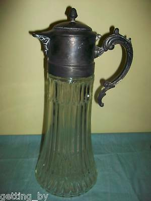 Antique Glass Pitcher Metal Lid 14 Inches Tall