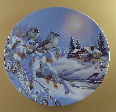 Wings of Winter WHITE NIGHT Plate Songbirds LOG CABIN
